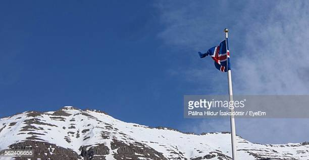 British Flag Fluttering On Mountain