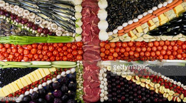 british flag or union jack made entirely from food - union jack stock pictures, royalty-free photos & images