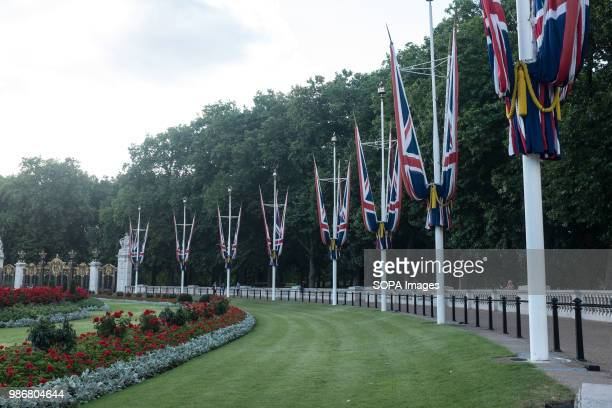 British flag seen near Buckingham Palace London is the Capital city of England and the United Kingdom it is located in the south east of the country...