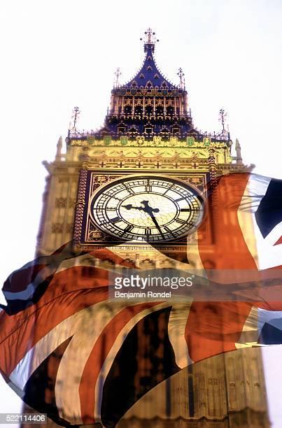 British Flag Superimposed on Big Ben