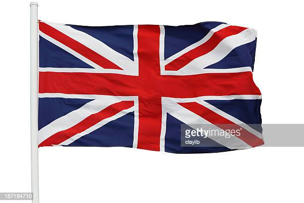 british flag waving on pole with clipping path - union jack stock photos and pictures
