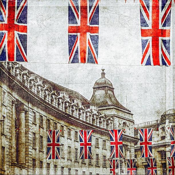British flags flying above Regent St, London, UK