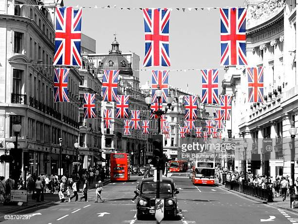 British Flags Hanging With Bunting Over City Street