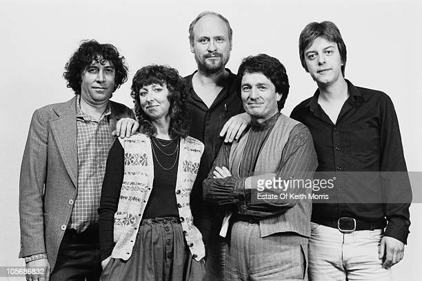 British folk group Pentangle London 1985 Left to right guitarist Bert Jansch singer Jacqui McShee double bass player Danny Thompson drummer Terry Cox...