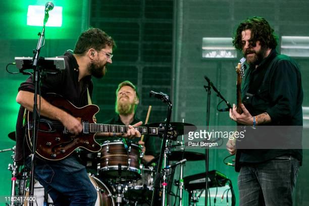 British folk rock band Bear's Den with lead singer Andrew Davie and Kevin Jones perform at Lowlands festival, Biddinghuizen, Netherlands, 18th August...