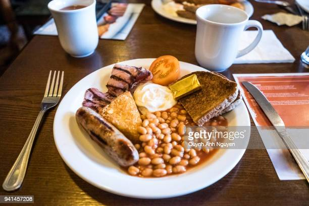 British food: Close-Up Of English Breakfast Served In Plate On Table