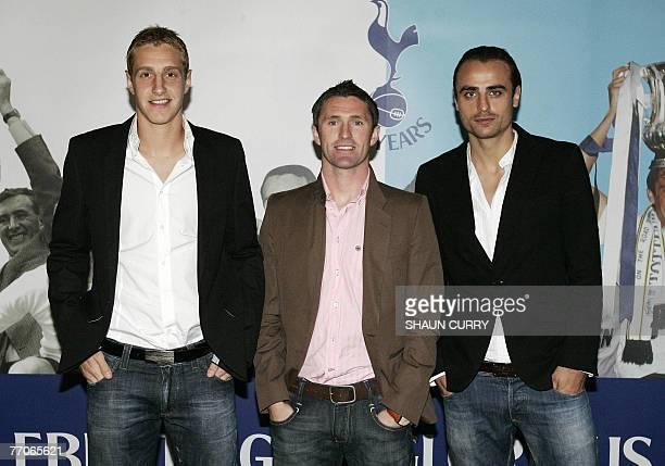 British football club Tottenham Hotspur players defender Michael Dawson striker Robbie Keane striker Dimitar Berbatov arrive at the premiere...
