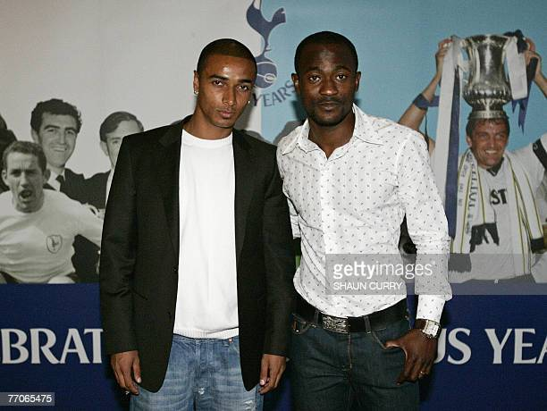 British football club Tottenham Hotspur players including full Back Benoit AssouEkotto MidfielderDidier Zokora arrive at the premiere screening of...