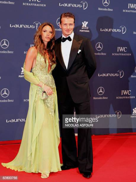 British football player David Beckham and his wife Victoria arrive at the Laureus World Sports Awards at the Estoril casino in Estoril 16 May 2005...