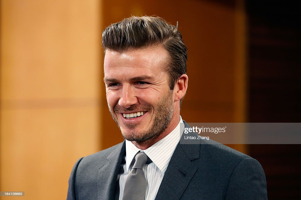 British football player David Beckham attends a press conference titled 'Ambassador for the Youth Football Programme in China and the Chinese Super League' at Shijia Hutong Primary School on March 20, 2013 in Beijing, China. David Beckham is on a five-day visit to China at the invitation of the China Football Association as China's first international ambassador.