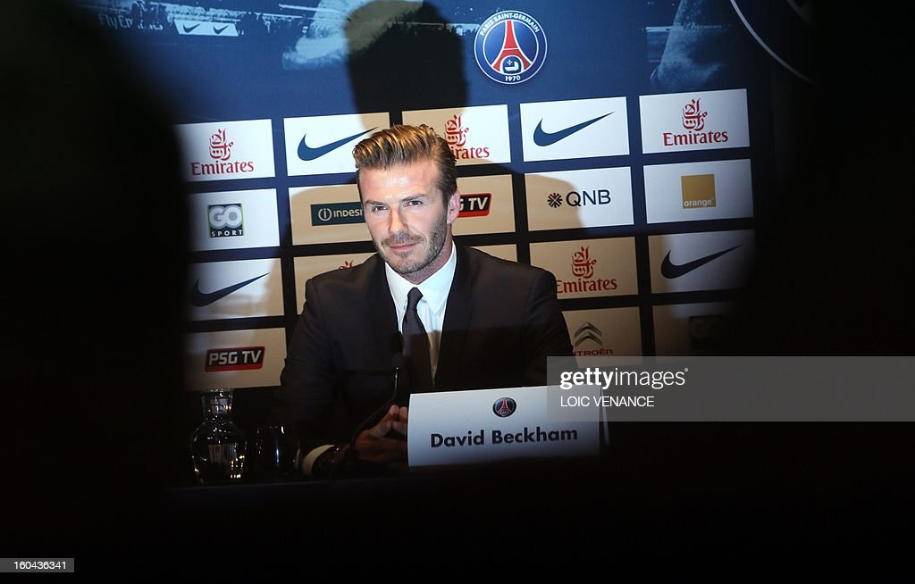 British football player David Beckham gives a press conference on January 31, 2013 at the Parc des Princes stadium in Paris. Beckham signed a five-month deal with the French Ligue 1 football club Paris Saint Germain until the end of June.