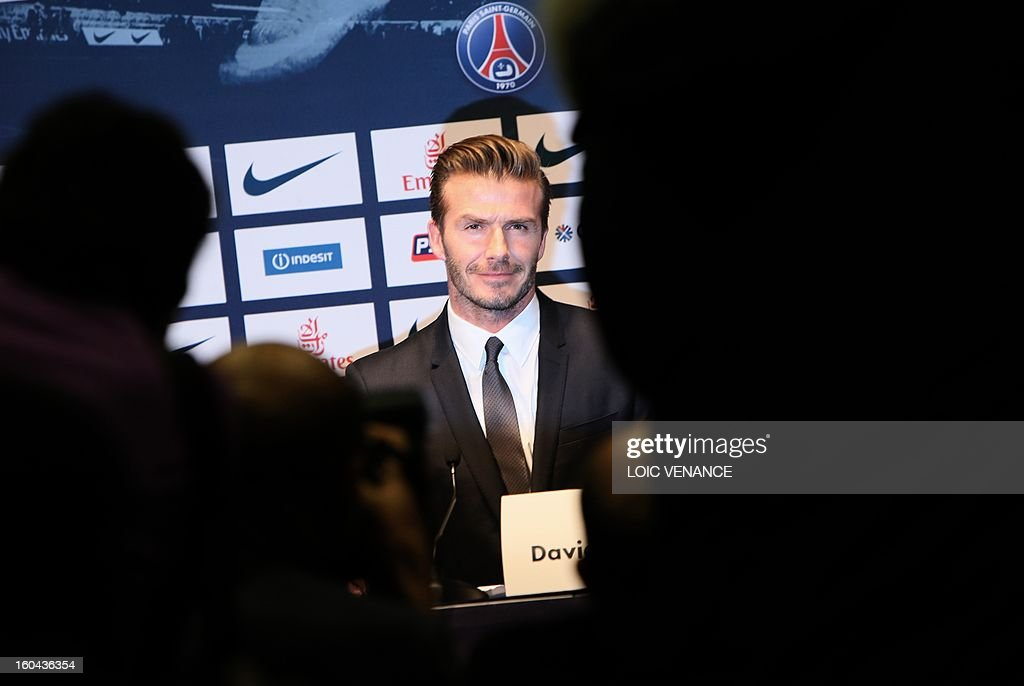 British football player David Beckham gives a press conference on January 31, 2013 at the Parc des Princes stadium in Paris