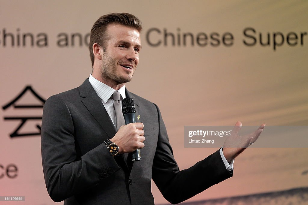 British football player David Beckham speak during a press conference titled 'Ambassador for the Youth Football Programme in China and the Chinese Super League' at Shijia Hutong Primary School on March 20, 2013 in Beijing, China. David Beckham is on a five-day visit to China at the invitation of the China Football Association as China's first international ambassador.