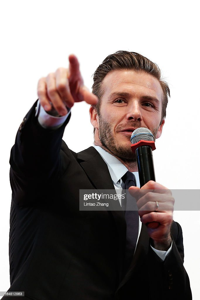 British football player David Beckham speaks during his visit to Peking University and students interact on March 24, 2013 in Beijing, China. David Beckham is on a five-day visit to China at the invitation of the China Football Association as China's first international ambassador.
