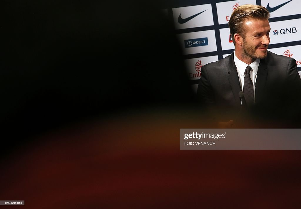 British football player David Beckham takes part in a press conference on January 31, 2013 at the Parc des Princes stadium in Paris. Beckham signed a five-month deal with the French Ligue 1 football club Paris Saint Germain until the end of June.