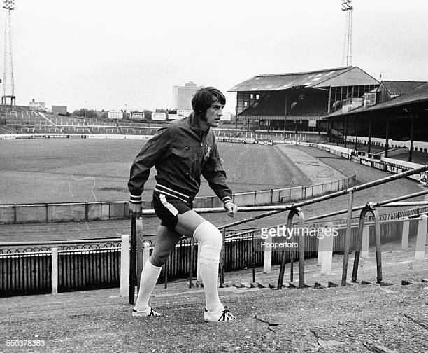 British football player Ian Hutchinson trains with a strapped knee with Chelsea FC at Stamford Bridge Stadium London May 25th 1971