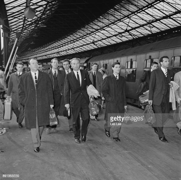 British football player Stanley Matthews arrives at Euston Station with Stoke City FC teammates London UK 11th May 1963