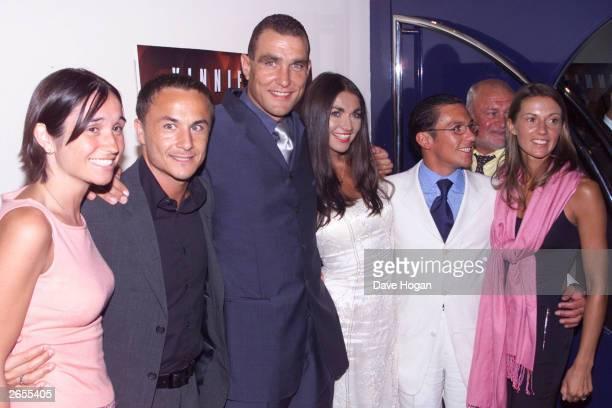 British footballer Dennis Wise British ex footballer Vinnie Jones Italian jockey Frankie Detori and their wives attend the film premiere party for...
