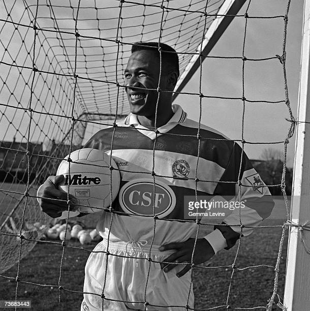 British footballer Les Ferdinand wearing his QPR kit, early 1990s.