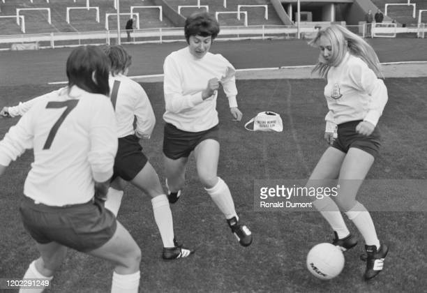 British footballer Sheila Parker and members of the England Women's football team training at Wembley Stadium in London, England, 15th November 1972.