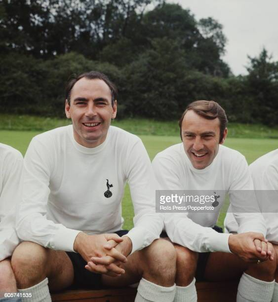 British footballers and strikers with Tottenham Hotspur Alan Gilzean and Jimmy Greaves pictured together during a press call at Spurs' training...