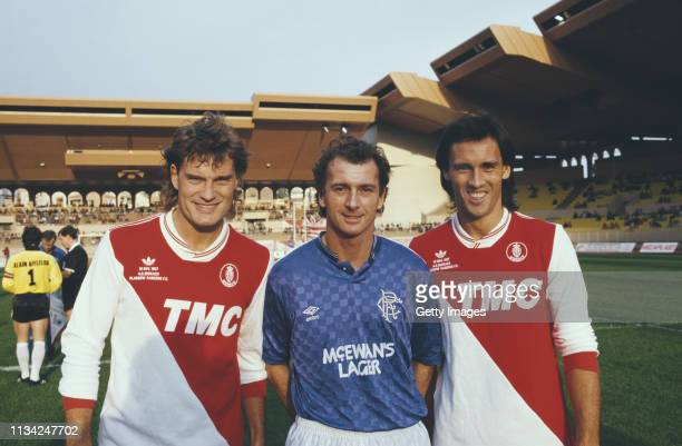 British Footballers Glenn Hoddle and Mark Hateley of AS Monaco pictured with Rangers striker Trevor Francis before a match at Stade Louis II stadium...