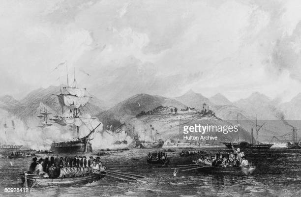 British forces led by Brigadier Burrell right in the harbour of Tinghai at Chusan Island during the Opium War October 1841