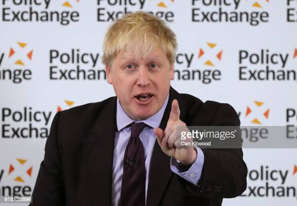 British Foreign and Commonwealth Minister Boris Johnson speaks at the Policy Exchange on February 14 2018 in London England British Foreign and...