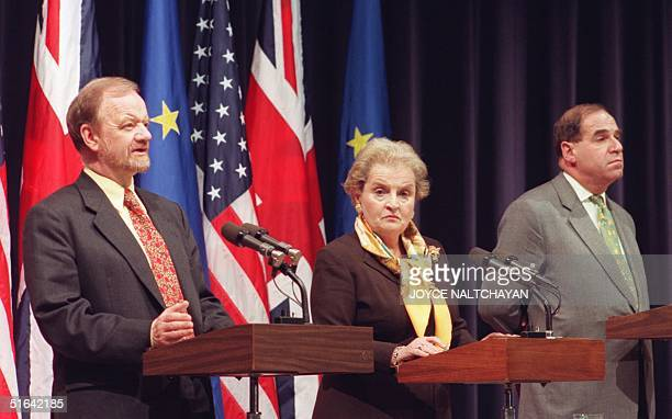 British Foreign Minister and European Commission President Robin Cook answers questions as US Secretary of State Madeleine Albright and EU Vice...
