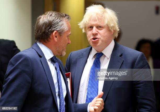 British Foreign Minister Boris Johnson and Danish Foreign Minister Anders Samuelsen attend the EU Foreign Affairs Ministers meeting at the EU...