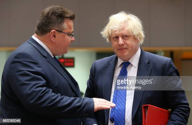 British Foreign Minister Boris Johnson and Lithuanian Minister of Foreign Affairs Linas Linkevicius attend the EU Foreign Affairs Ministers meeting...