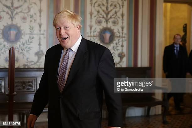 British Foreign Minister Boris Johnson arrives for a meeting with Senate Foreign Relations Committee Chairman Bob Corker at the US Capitol January 9...