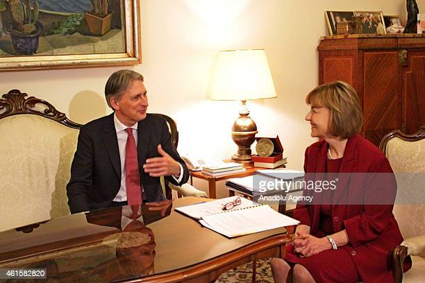 British Foreign Minister Philip Hammond meets Croatian Foreign Minister Vesna Pusic during his official visit in Zagreb Croatia on January 15 2015