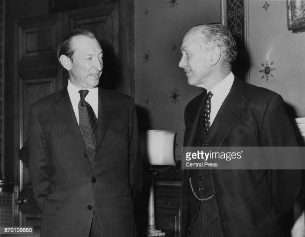 British Foreign Secretary Alec DouglasHome talks to United Nations SecretaryGeneral Kurt Waldheim at the Foreign Office in London 11th April 1972...