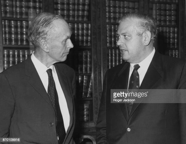 British Foreign Secretary Alec DouglasHome with Norman Kirk leader of the New Zealand Labour Party during talks at the Foreign and Commonwealth...