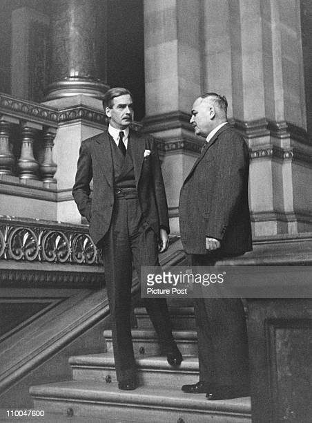 British Foreign Secretary Anthony Eden with diplomat Ivan Maisky the Soviet ambassador to the United Kingdom 1943 Original Publication Picture Post...