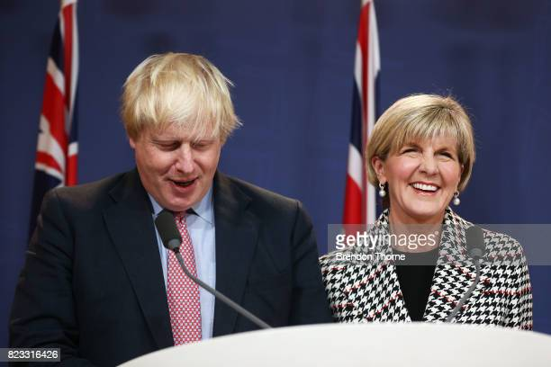 British Foreign Secretary Boris Johnson and Australian Foreign Minister Julie Bishop attend a press conference on July 27 2017 in Sydney Australia...