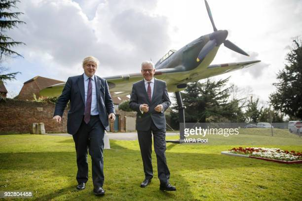 British Foreign Secretary Boris Johnson and his Polish counterpart Jacek Czaputowicz visit a Battle of Britain bunker in Uxbridge on March 16 in...
