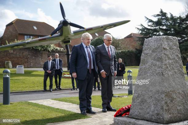 British Foreign Secretary Boris Johnson and his Polish counterpart Jacek Czaputowicz lay a wreath as they visit a Battle of Britain bunker in...