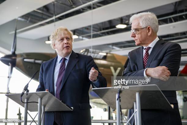 British Foreign Secretary Boris Johnson and his Polish counterpart Jacek Czaputowicz address the media visit a Battle of Britain bunker in Uxbridge...