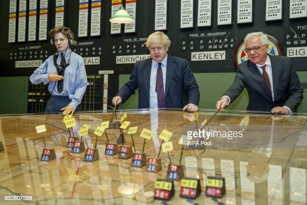 British Foreign Secretary Boris Johnson and his Polish counterpart Jacek Czaputowicz visit a Battle of Britain bunker in Uxbridge on March 16 in...