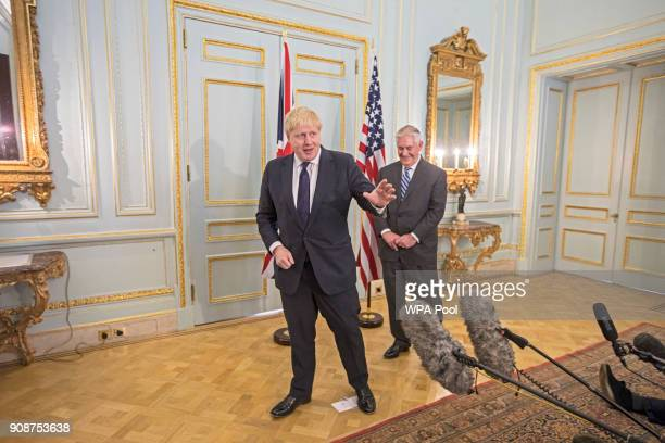 British Foreign Secretary Boris Johnson and his US counterpart Rex Tillerson at Mr Johnson's grace and favour home in central London on January 22...