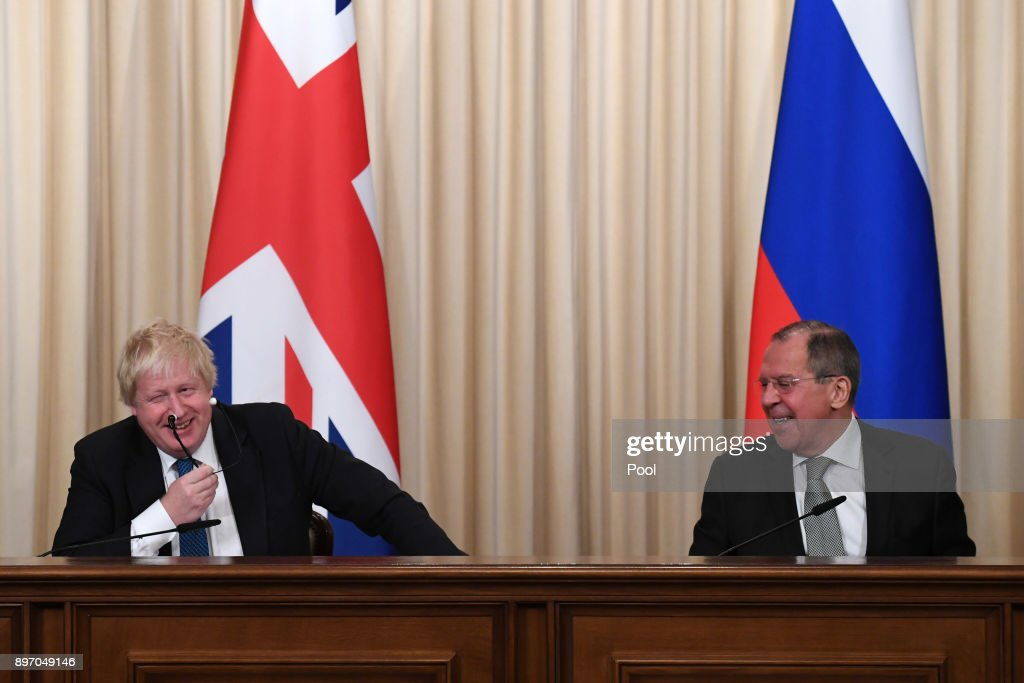 British Foreign Secretary Boris Johnson and Russian counterpart Sergei Lavrov laugh during a press conference after their meeting on December 22, 2017 in Moscow, Russia. Boris Johnson's visit to Russia is the first in five years by a British Foreign Secretary. Relations between the UK and Russia are at their lowest point since the cold war.