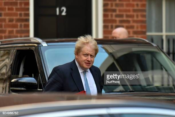 British Foreign Secretary Boris Johnson arrives at Downing Street to attend the weekly Cabinet meeting London n February 27 2018