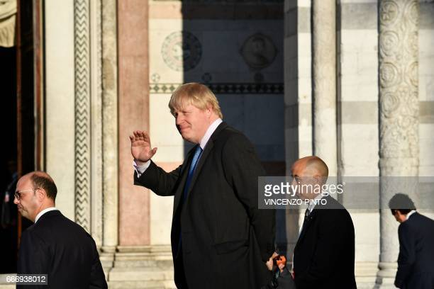 British Foreign Secretary Boris Johnson arrives for a family picture during a meeting of Foreign Affairs Ministers from the Group of Seven...