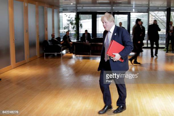 British Foreign Secretary Boris Johnson arrives for the Foreign Minister Meeting for Syria at the World Conference Center Bonn on February 17 2017 in...