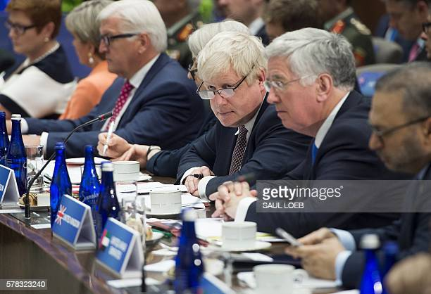 British Foreign Secretary Boris Johnson attends a meeting of the Ministers of the Global Coalition to Counter ISIL at the State Department in...