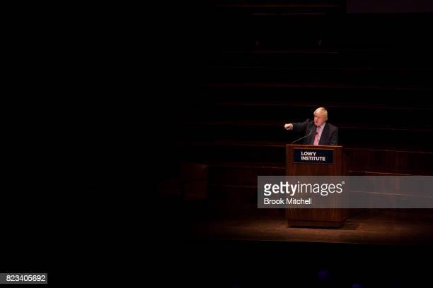 British foreign secretary Boris Johnson delivers the Lowy Insitute speech at Sydney Town Hall on July 27 2017 in Sydney Australia The British Foreign...