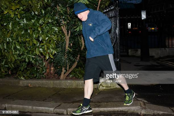 British Foreign Secretary Boris Johnson goes for an early morning jog on February 14 2018 in London England Mr Johnson will today make a speech...