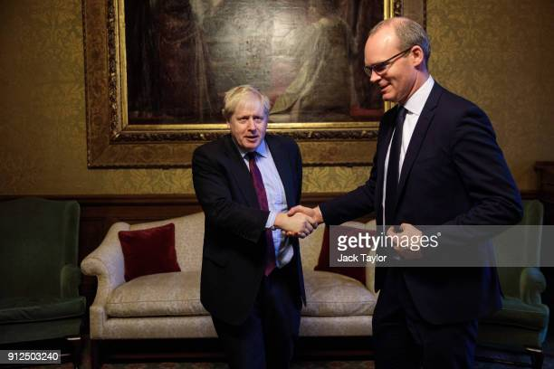 British Foreign Secretary Boris Johnson greets the Irish Foreign and Trade Minister Simon Coveney at the Foreign and Commonwealth Office on January...